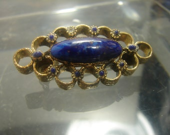 Vintage Turn of the Century Brooch Pin-Gold plated Blue Venetian Glass 13 grms 1355