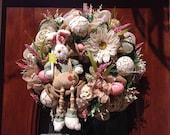 Fleece Bunny Easter Burlap Wreath