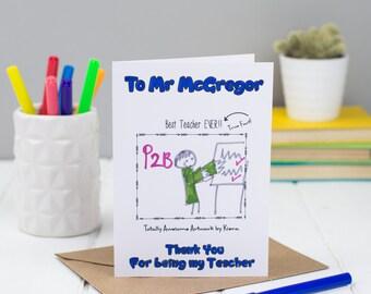 Thank you Teacher Card, Children's Colour in Card, Card for Teacher, Greetings Card