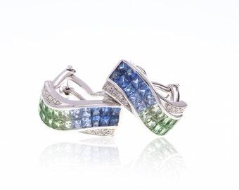 Multicolor Blue to Green Sapphire & Diamond 18K Gold Earrings (5.06ct tw): SKU 22666