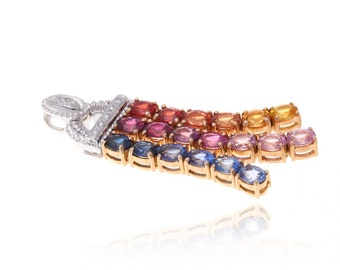 Multicolor Rainbow Sapphire & Diamond Tassle Pendant 18K Gold (4.11ct tw) SKU: 10310