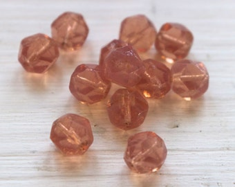 Vintage pink opalescent glass beads