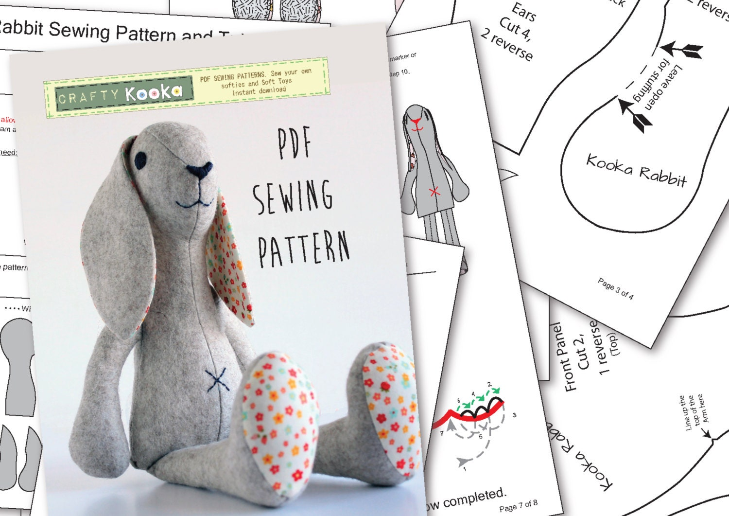 bunny template for sewing - felt animal patterns for instant download bunny rabbit