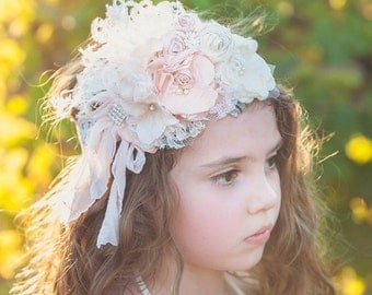Brand New! Blush Pink and ivory cream Stunning flower headband deluxe. Silk Rolled rostte cluster headband Vintage Lux Rose Blush pinks