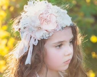 Blush Pink and ivory cream Stunning flower headband deluxe. Silk Rolled rostte cluster headband Vintage Lux Rose Blush pinks