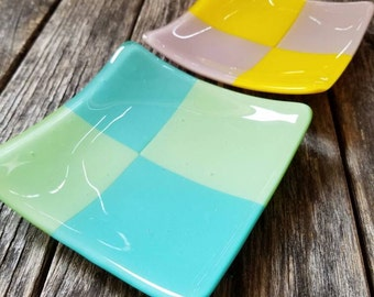 Offset- fused glass plates pair- small bites/ appetizer/ dessert, food safe; ready to ship.