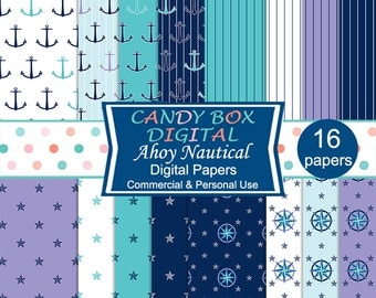 Nautical Ocean Digital Paper, Anchors and Mariners Compass - Commercial Use OK