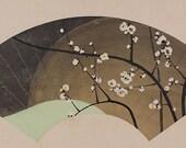 Japanese Fine Art Wall Hanging Scroll Painting Fan-Shaped Painting White Plum Blossoms Kakejiku – 110475