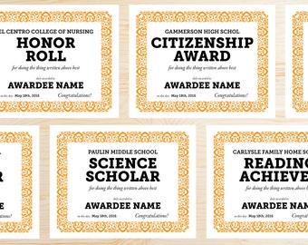 YOUR MASCOT Editable School Award Certificates Printable PDF