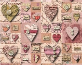 Patchwork of HEARTS & SWEET WORDS in Calligraphy - Pink and Cream - Vintage Style- Instant Printable Digital Collage Sheet