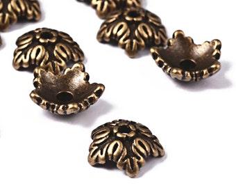 12pc 10mm antique bronze finish metal bead cap-8165B