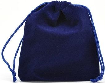 6 blue 12x10cm velvet small gift bag pouches7830B