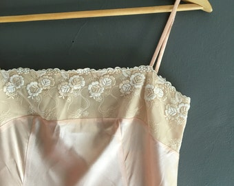 Pale Peach Satin Night Dress with Lace Trim