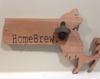 Homebrew Home brew Massachusetts state beer bottle opener (ALL states available)