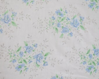 One Yard of Vintage Sheet Fabric - Blue Roses