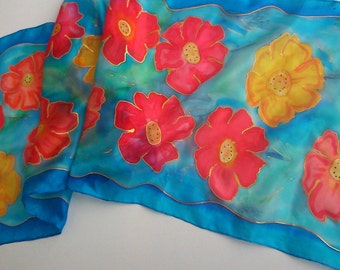 Royal Blue Hand Painted Silk Scarf for Ladies. Blue Designer Scarf with Poppies. Blue, Red, Yellow. Wearable Art. 14x 51 inch Scarf. OOAK