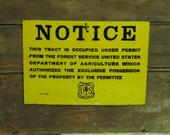 One sided METAL vintage Notice - Department of Agriculture Sign - SMALL