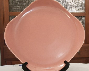 """Russel Wright Steubenville American Modern Coral Platter Chop Plate Square - ish 13"""" Serving Plate"""