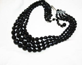 Vintage Black Crystal Bead Necklace, 4 Strand Necklace, 1950s Jewelry, West Germany