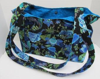 Travel Bag, Diaper Bag, Blue Floral Large Bag, Made in Colorado, Large Travel Bag, Large Diaper Bag, Girls Diaper Bag, Boys Diaper Bag