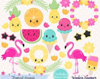 INSTANT DOWNLOAD - Summer Kawaii Clipart or tropical kawaii clip art for personal and commercial use