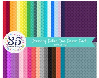 80% OFF - INSTANT DOWNLOAD, Primary Polka Dot Digital Papers, Polka Dot Backgrounds for personal and commercial use