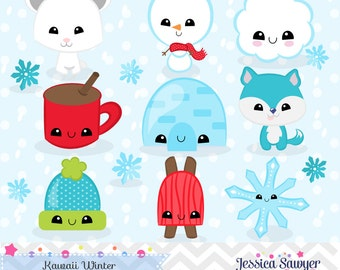 INSTANT DOWNLOAD, kawaii winter clipart and vectors for personal and commercial use