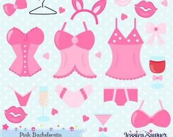 INSTANT DOWNLOAD, lingerie clipart or bachelorette clip art and vectors for crafts and products