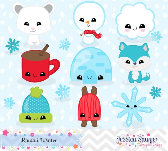 instant download kawaii winter clipart and vectors for personal and