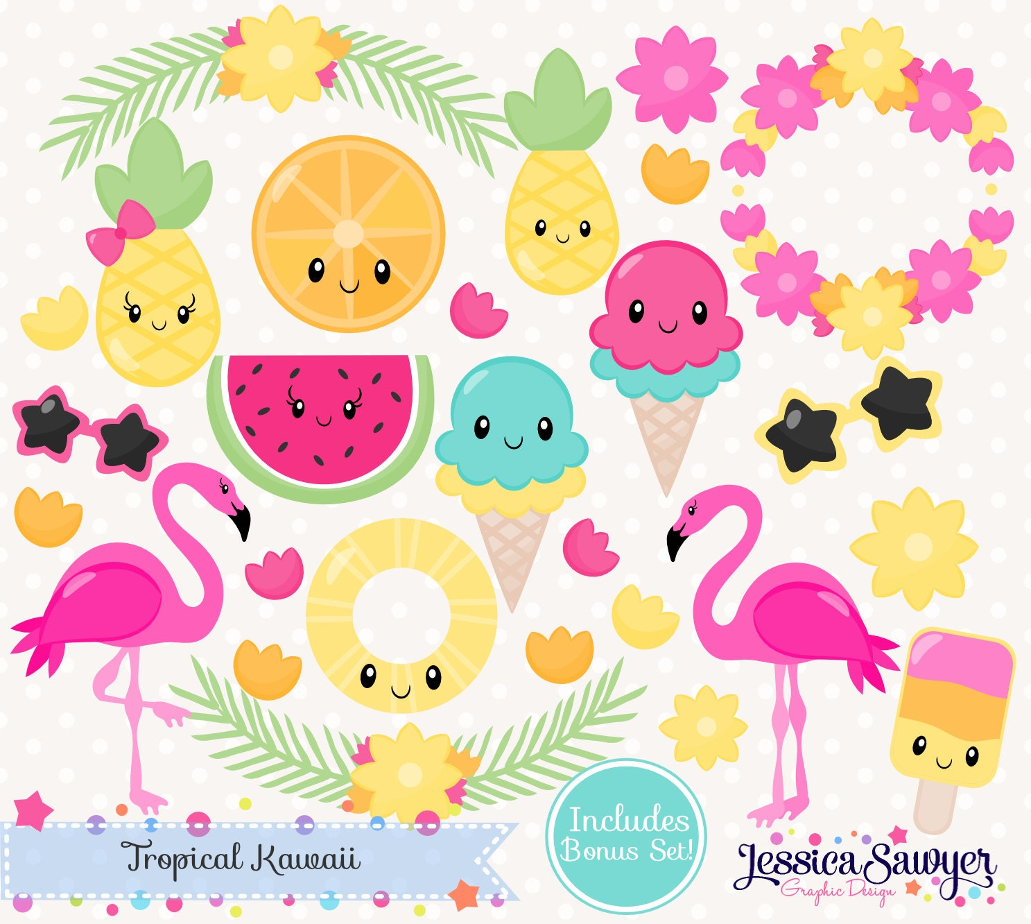 INSTANT DOWNLOAD - Summer Kawaii Clipart or tropical ...