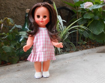 Vintage Furga doll 1960, Italian doll, 11,8 inch vintage doll, vinyl plastic doll, hand made clothes and shoes.