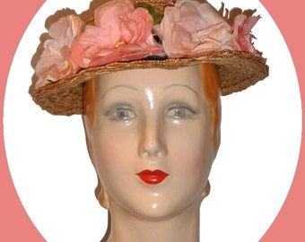 1940s Sweet straw weave summer hat!