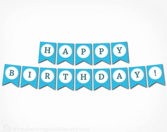 Blue Birthday Banner - Printable Instant Download - Boy Happy Birthday Banner Blue Decoration