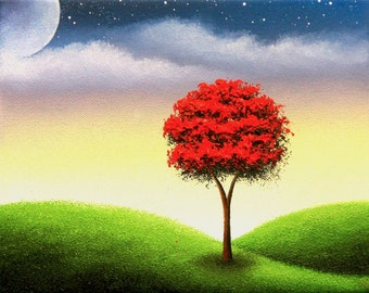 Art Print of Landscape Painting, Red Tree Art, Colorful Wall Art, Whimsical Tree Print, Gift Ideas, Canvas Print of Moon at Night Dreamscape