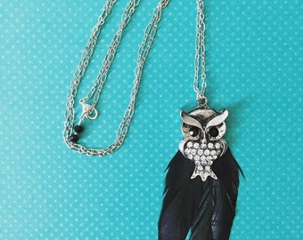 Long necklace. Handmade jewelry. Owl Necklace. Silver Owl. Feather Necklace. Unique necklace. Black Feathers. Owl pendant.