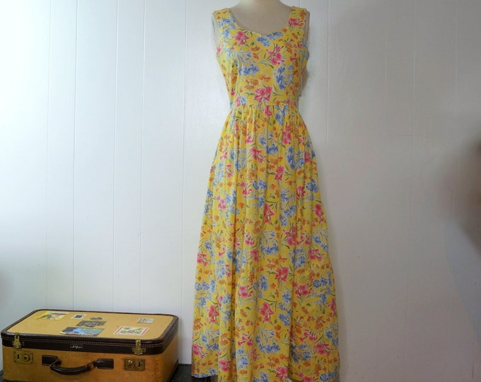 Laura Ashley Floral Sundress English Country Tea Dress SMALL Yellow Cotton Blue Pink Flowers Summer Party Dress Full Skirt 50s Silhouette