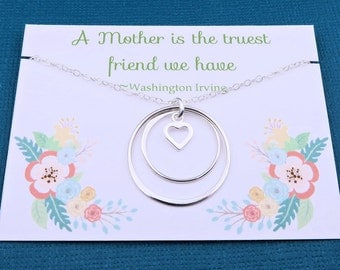 Mothers Necklace - Double Eternity Circle Necklace - sterling silver Mothers Day Gift - eternal love- message card - gift for mom - mum