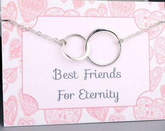 Best Friends Necklace - eternity circle necklace - double circle - sterling silver - friends for eternity message card jewelry