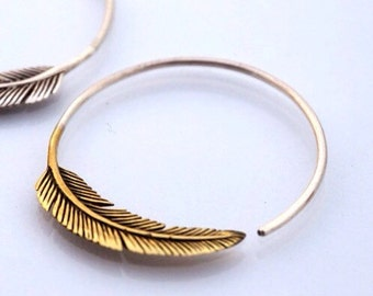 SALE -Feather Hoop Earrings - Brass  - tula hoop