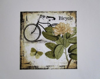 """Bicycle Butterfly 8 1/2"""" Iron On Patch"""