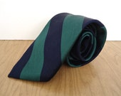 Gant Silk Repp Tie / vintage men's preppy navy blue & green diagonnally striped tie