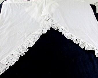 SALE Vintage White Cotton Eyelet Curtains Four (4) Piece or Two (2) Windows