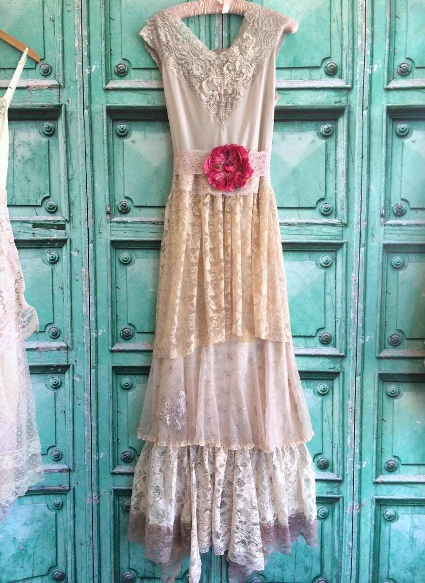 Taupe tan nude lace boho wedding dress by mermaid miss for Taupe lace wedding dress