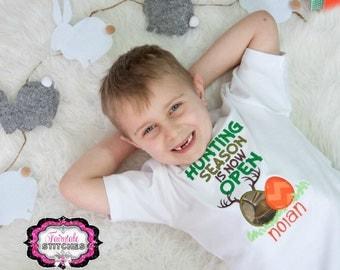 Hunting Season is Now Open, Camo Easter, Boy Easter Shirt, My First Easter, First Easter, Easter Shirt, Bunny Shirt, Easter Bunny Shirt