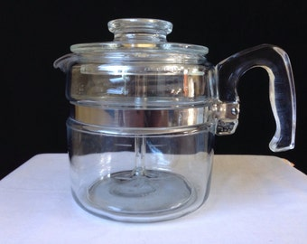 Pyrex  4 Cup - Flameware - Percolator - 7754 -B Complete