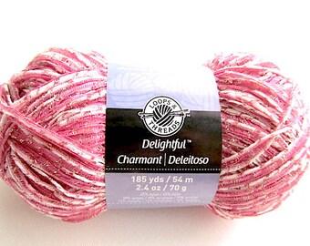 SALE Delightful Loops and Threads Pink Ribbon Nylon Acrylic Metallic  Accessories Bulky Yarn
