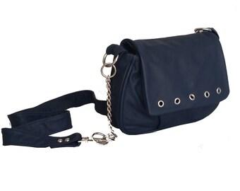 Blue Leather Bag, Weekend  Trendy Women Purse, Fashion Shoulder Handbag, Sury