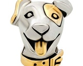 Dog Spacer Bead for  European Style Charm Bracelet - Silver Plated
