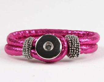 Hot Pink PU  Leather Snap Bracelet