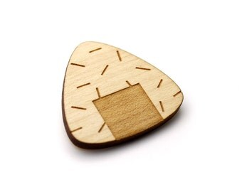 Onigiri brooch  - Onigiri jewelry  - maple wooden jewellery - wood and metal pin - lasercut minimalist jewelry